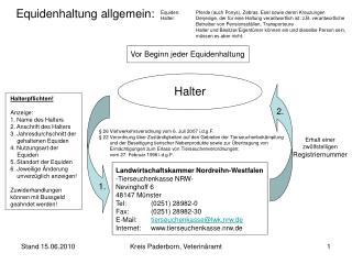 Landwirtschaftskammer Nordreihn-Westfalen -Tierseuchenkasse NRW- Nevinghoff 6 48147 Münster