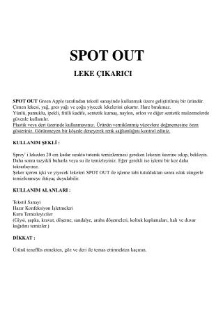 SPOT OUT