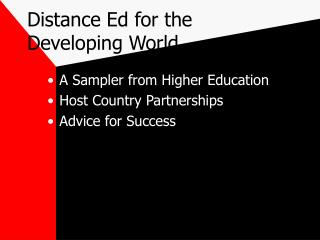 Distance Ed for the Developing World
