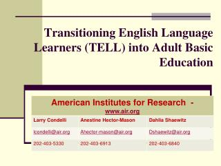 Transitioning English Language Learners (TELL) into Adult Basic Education