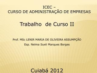Trabalho  de Curso  II Prof.  MSc  LENIR MARIA DE OLIVEIRA  ASSUMPÇÃO