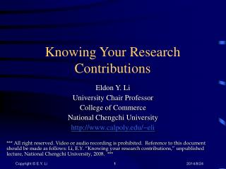 Knowing Your Research Contributions