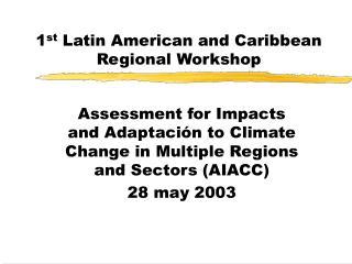 1 st  Latin American and Caribbean Regional Workshop