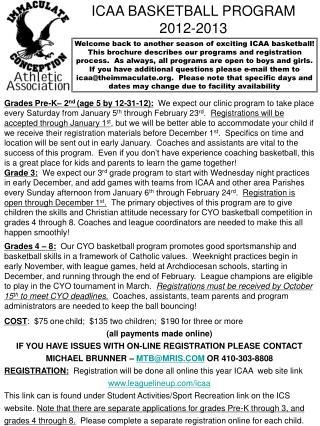ICAA BASKETBALL PROGRAM 2012-2013