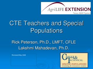 CTE Teachers and Special Populations