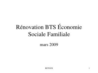 Rénovation BTS Économie Sociale Familiale