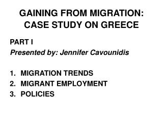 GAINING FROM MIGRATION: CASE STUDY ON GREECE