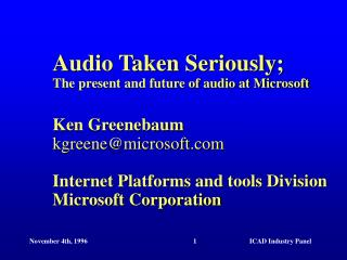 Slides, other materials online:  research.microsoft/research/graphics/kgreene/icad