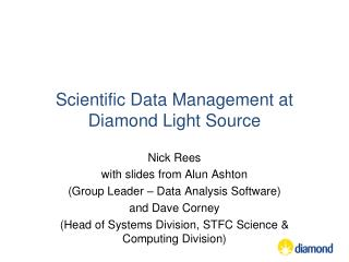 Scientific Data Management at Diamond Light Source