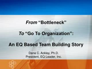 "From  ""Bottleneck""  To  ""Go To Organization"": An EQ Based Team Building Story"