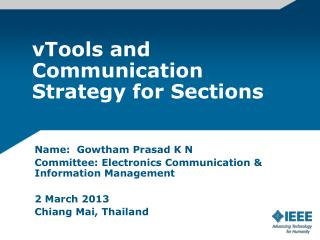 vTools and Communication Strategy for Sections