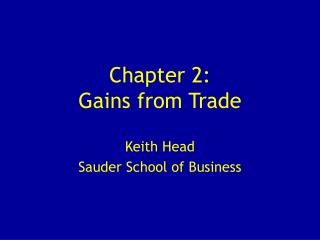 Chapter 2:  Gains from Trade
