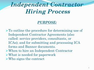 Independent Contractor  Hiring Process