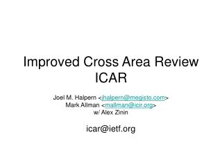 Improved Cross Area Review ICAR