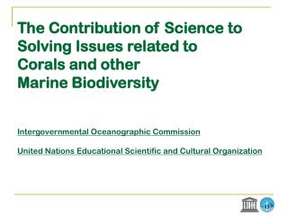 IOC and UNESCO Member States' views on Ocean Sciences for Policy-Making