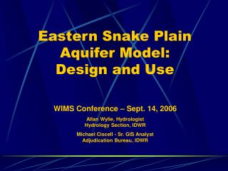 Eastern Snake Plain Aquifer Model: Design and Use