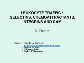 LEUKOCYTE TRAFFIC :  SELECTINS, CHEMOATTRACTANTS, INTEGRINS AND CAM D. Dunon