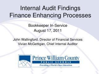 Internal Audit Findings Finance Enhancing Processes