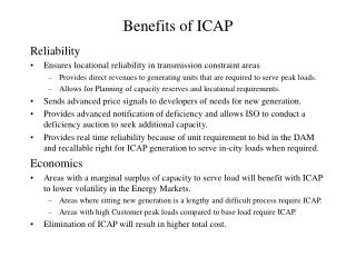 Benefits of ICAP