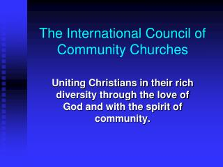 The International Council of Community Churches