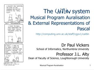 The  cAitlIn  system Musical Program Auralisation & External Representations of Pascal