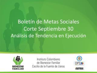 Boletín de Metas Sociales Corte Septiembre  30 Análisis de Tendencia en Ejecución