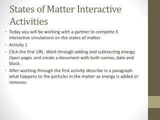 States of Matter Interactive Activities