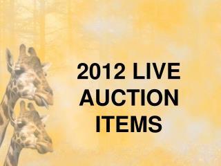 2012 LIVE AUCTION ITEMS