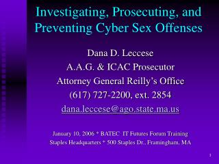 Investigating, Prosecuting, and Preventing Cyber Sex Offenses