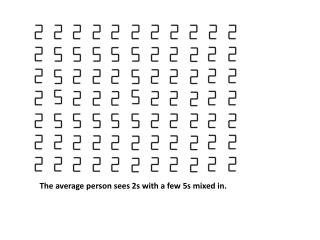 The average person sees 2s with a few 5s mixed in.