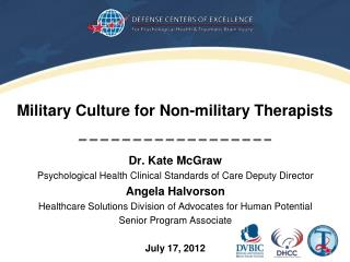 Military Culture for Non-military Therapists