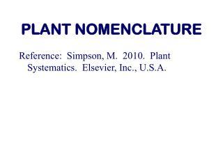 PLANT NOMENCLATURE