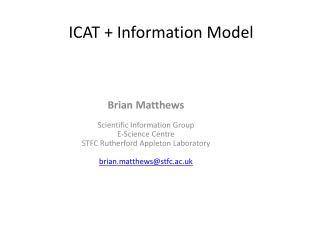 ICAT + Information Model