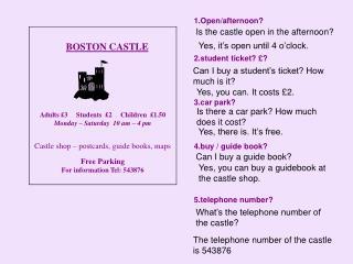 BOSTON CASTLE