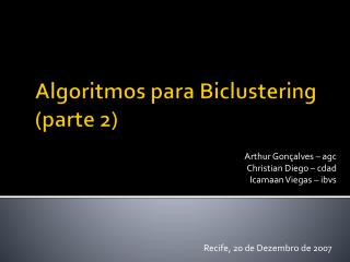 Algoritmos para Biclustering (parte 2)