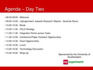 Agenda – Day Two