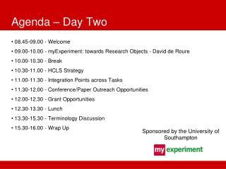 Agenda � Day Two