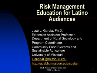 Risk Management Education for Latino Audiences