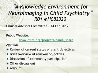 """ A Knowledge Environment for Neuroimaging in Child Psychiatry "" R01 MH083320"