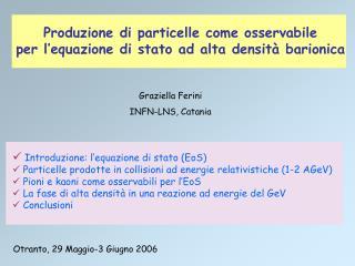 Introduzione: l'equazione di stato (EoS)