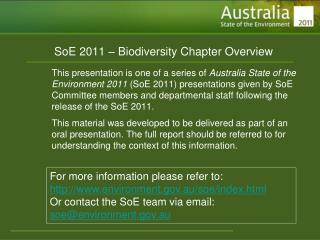 SoE 2011 – Biodiversity Chapter Overview