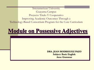 Module on Possessive Adjectives