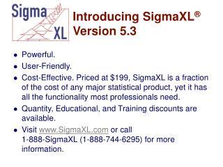 Introducing SigmaXL  Version 5.3