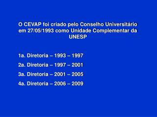 O CEVAP foi criado pelo Conselho Universitário em 27/05/1993 como Unidade Complementar da UNESP