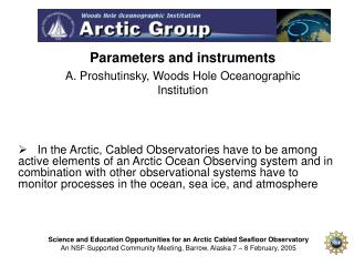 Parameters and instruments  A. Proshutinsky, Woods Hole Oceanographic Institution