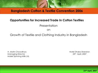 Presentation  on   Growth of Textile and Clothing Industry in Bangladesh