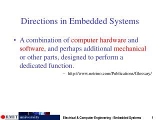 Directions in Embedded Systems
