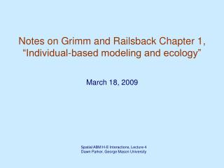"Notes on Grimm and Railsback Chapter 1, ""Individual-based modeling and ecology"""