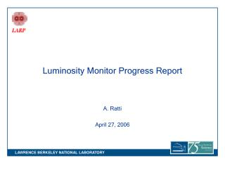 Luminosity Monitor Progress Report