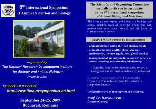 8 th International Symposium  of Animal Nutrition and Biology